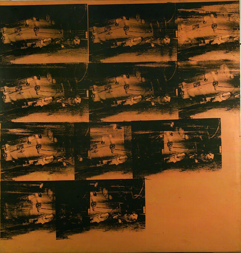 "GAM, musée d'art moderne de Turin : ""Orange Car Crash (5 Deaths 11 Times in Orange)"" d'Andy Warhol."
