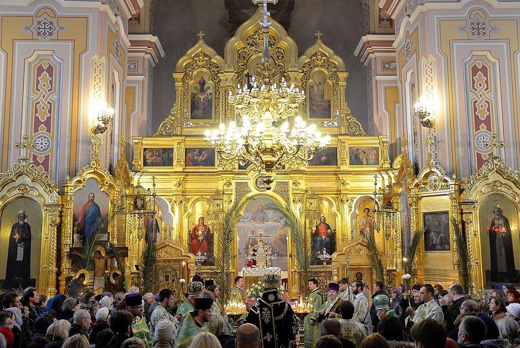 Ceremonie lors du dimanche des rameaux ou des palmes dans l'église Sainte Madeleine de Varsovie - Photo d'Adrian Grycuk