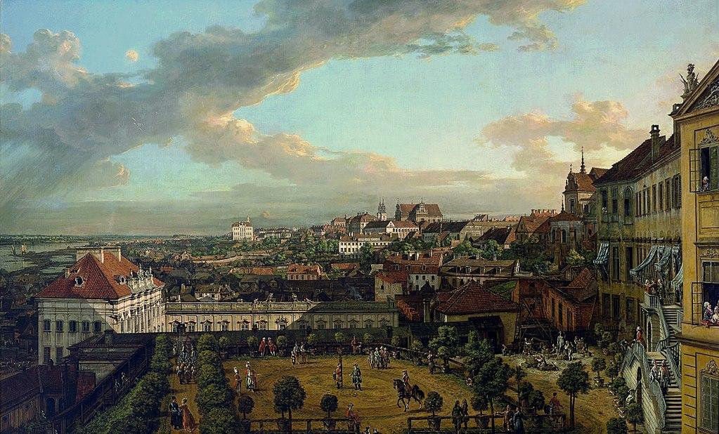 > Vue de Varsovie depuis les terrasses du Chateau Royal par Bellotto (appellé Canaletto) vers 1773.
