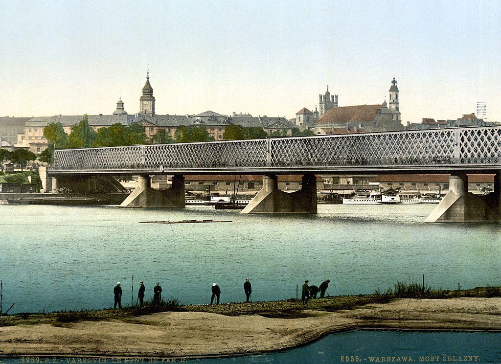 Pont sur la Vistule reliant la Vieille Ville de Varsovie au quartier de Praga vers 1900.