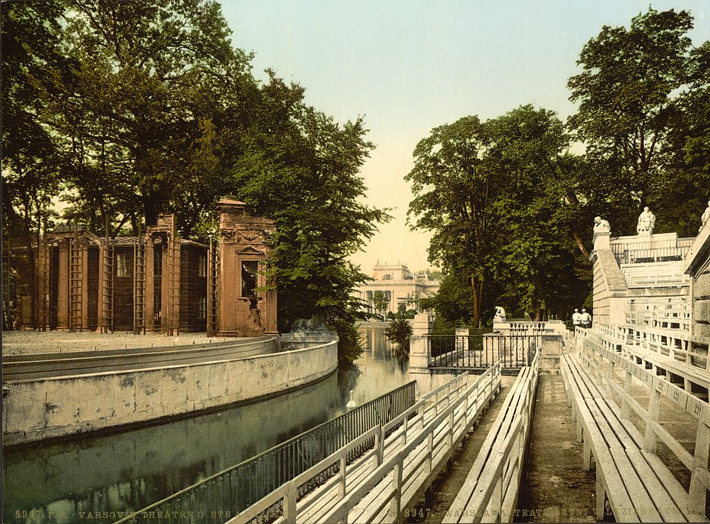 Théâtre sur l'eau dans le parc des Lazienki à Varsovie vers 1900.