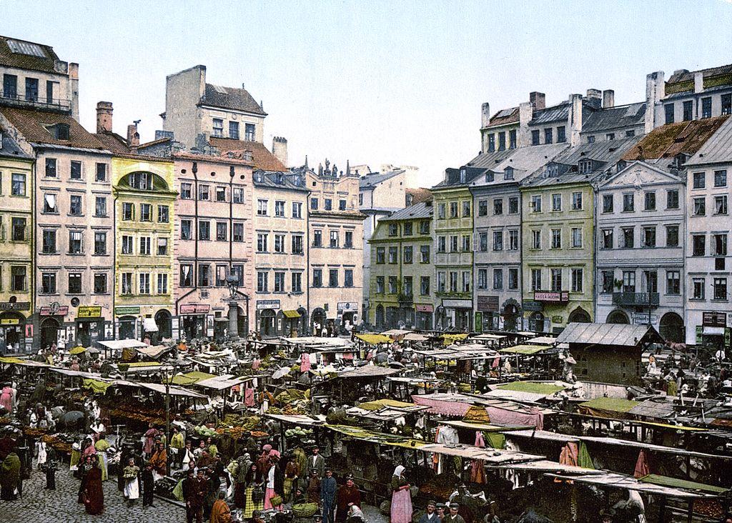 Place du marché dans la Vieille Ville de Varsovie vers 1900.