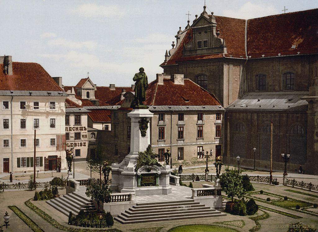 Statue de Mickiewicz à Varsovie en 1900.