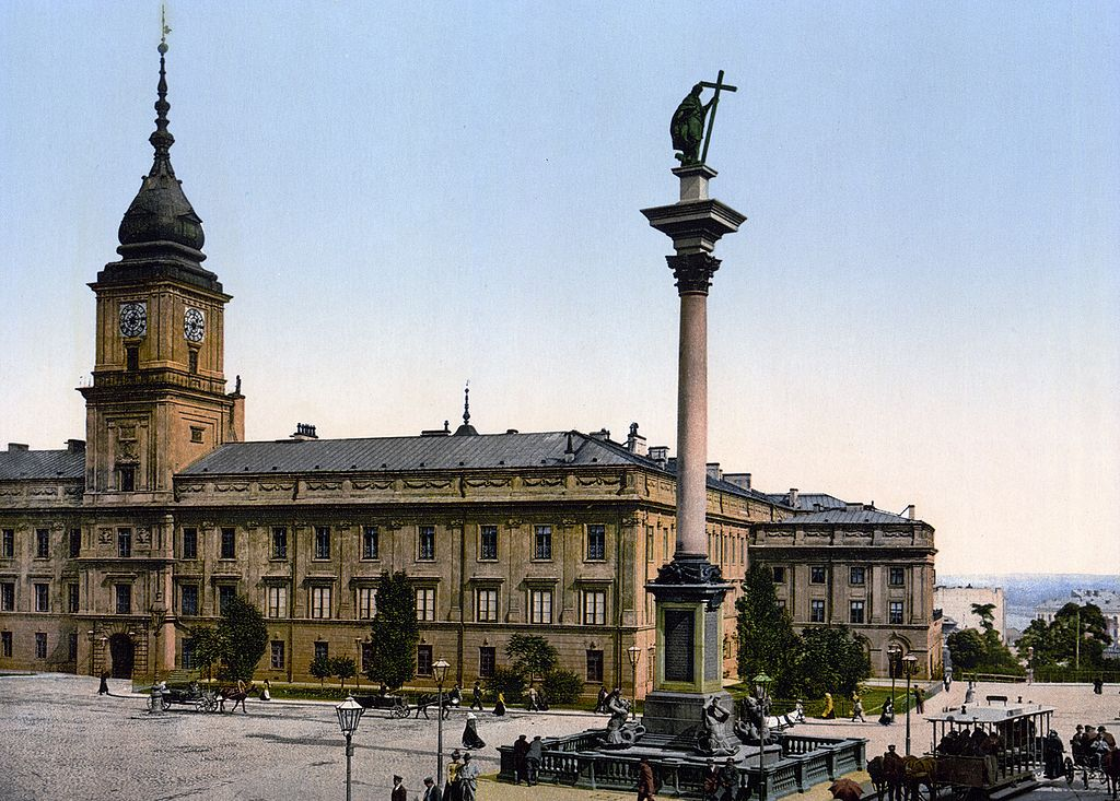 Chateau Royal de Varsovie avec la statue de Jan III Waza vers 1900.