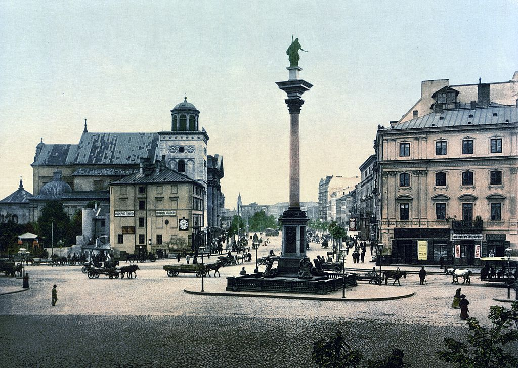 Place du Chateau Royal de Varsovie avec la statue de Jan III Waza vers 1900.