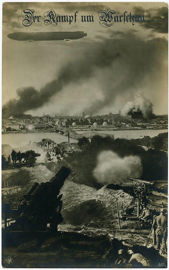 Carte postale allemande illustrant le bombardement de Varsovie en 1914/1915.