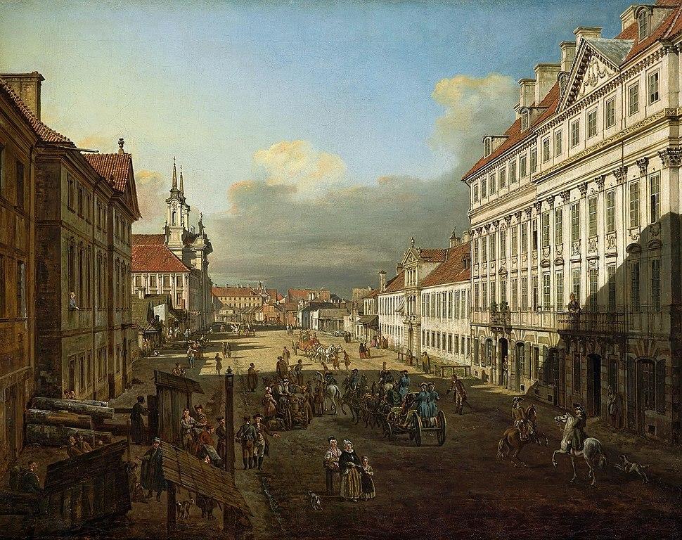 Rue Długa à Varsovie par Bellotto (Canaletto).