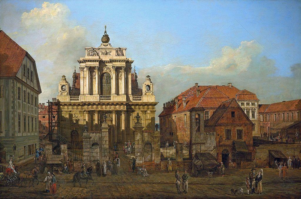 > Eglise des Carmélites à Varsovie par Bellotto (appellé Canaletto) vers 1780.