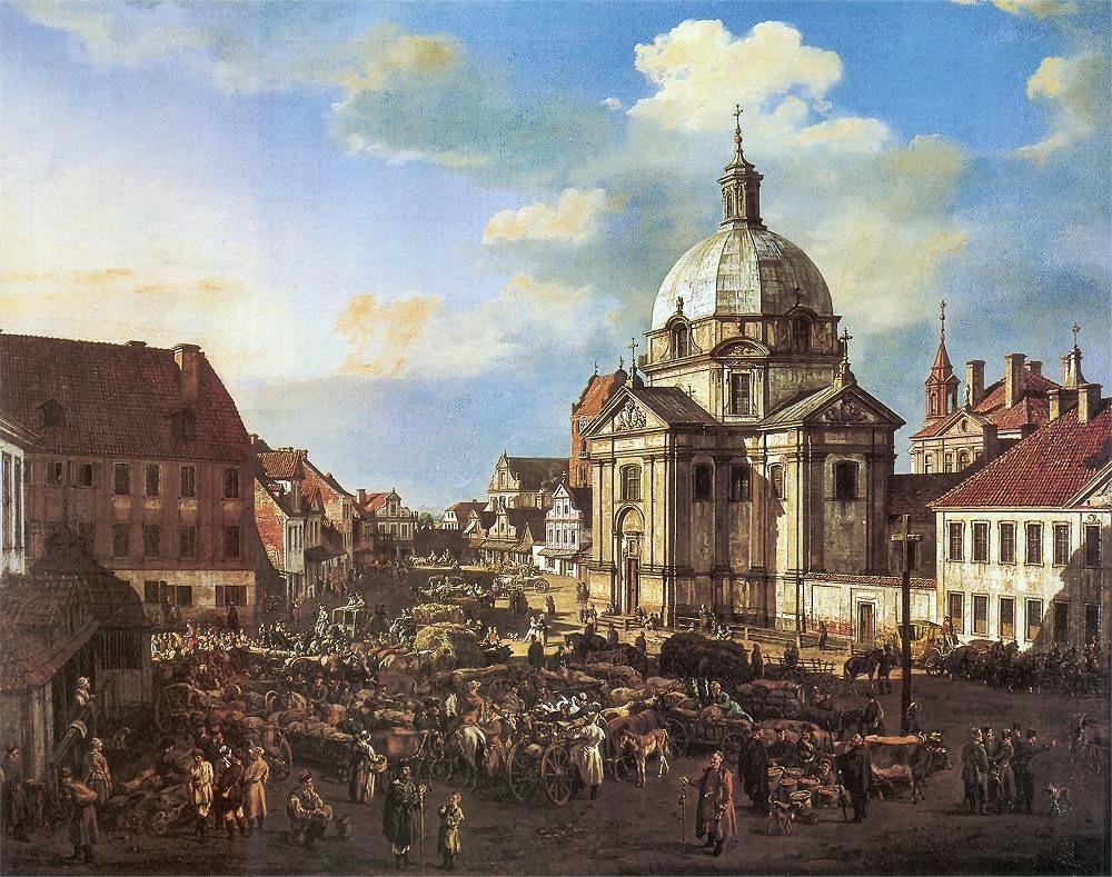 > Place du marché de la Nouvelle ville et Eglise Saint Casimir à Varsovie par Bellotto (appellé Canaletto).