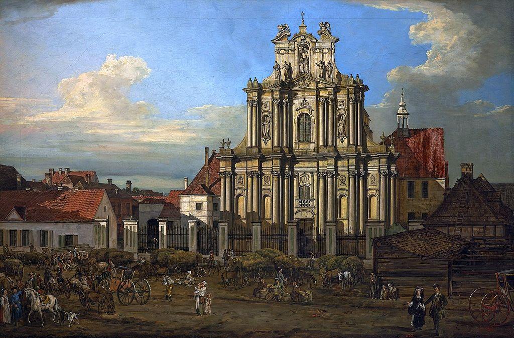 Eglises des visitandines à Varsovie sur une toile de Bellotto (Canaletto).