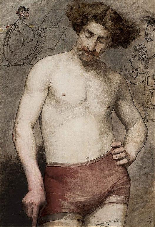 "Tableau ""Homme demi nu"" (1885) par Bilińska au Musée National de Varsovie."