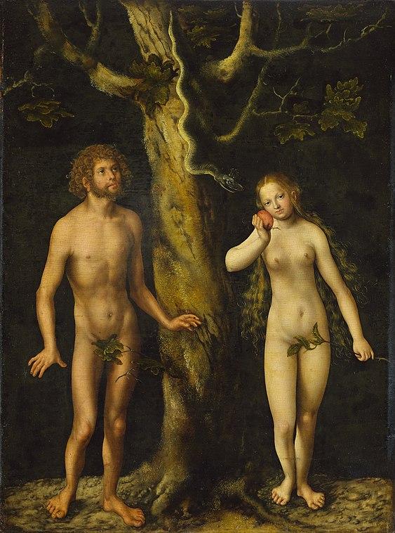 """""""Adam & Eve"""" (1510) de Lucas Müller, dit Lucas Cranach l'Ancien au musée national de Varsovie."""