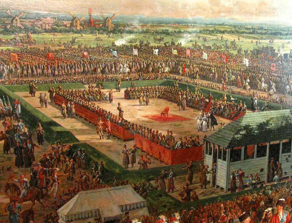 Election du roi Stanisław August Poniatowski 1764. L'amant de Catherine II obtient l'appui d'une armée russe de 7000 soldats pour faciliter le vote de la noblesse.