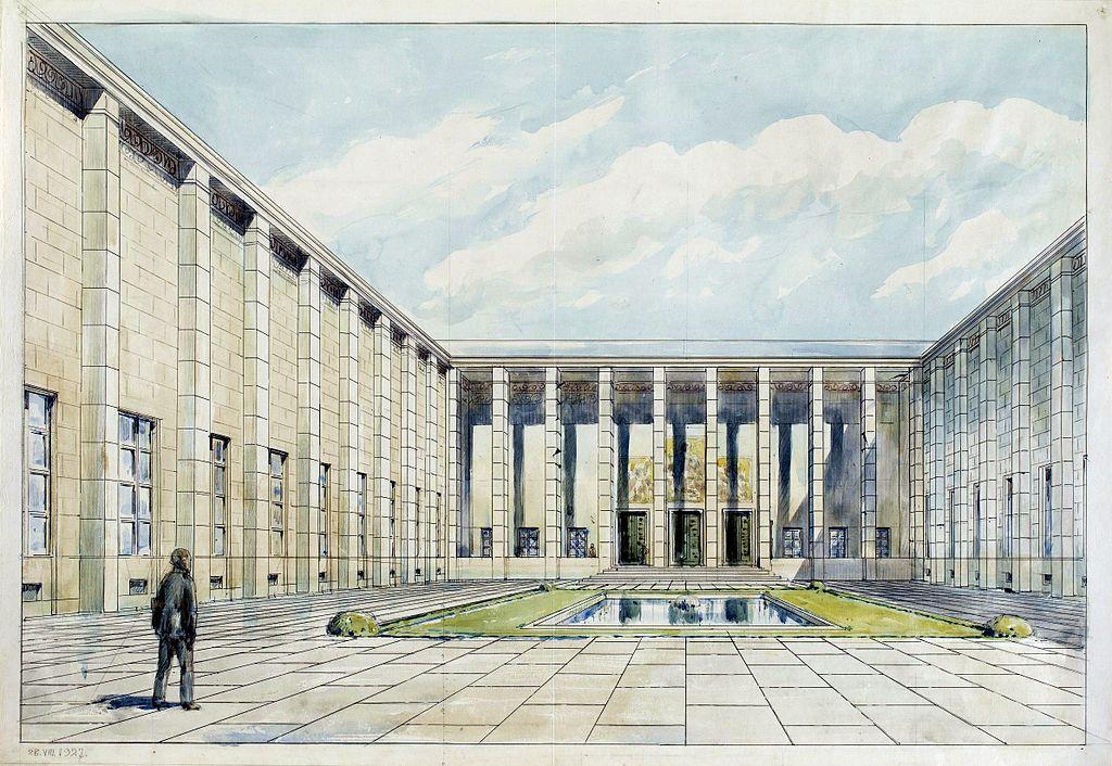 Musée National de Varsovie : Un immeuble imposant pour des collections d'antiquités, peintures et sculptures. Dessin de Gembarzewski en 1927.