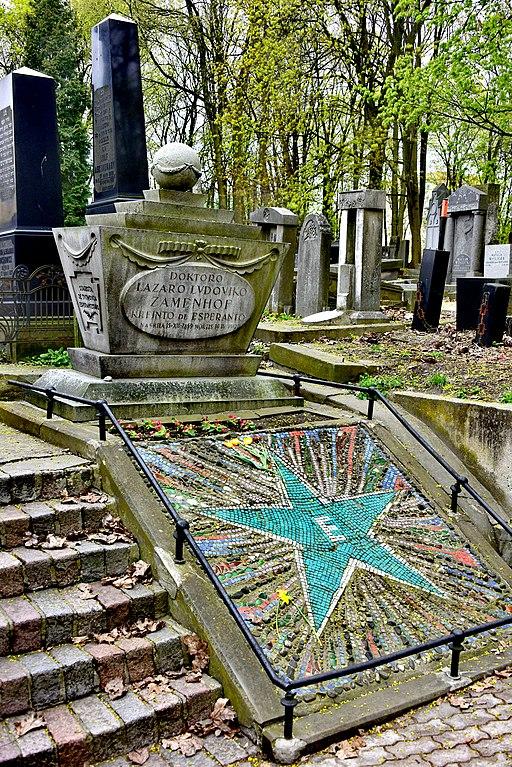 Tombe de Ludwik Zamenhof au cimetière juif de Varsovie. Photo d'Adrian Grycuk