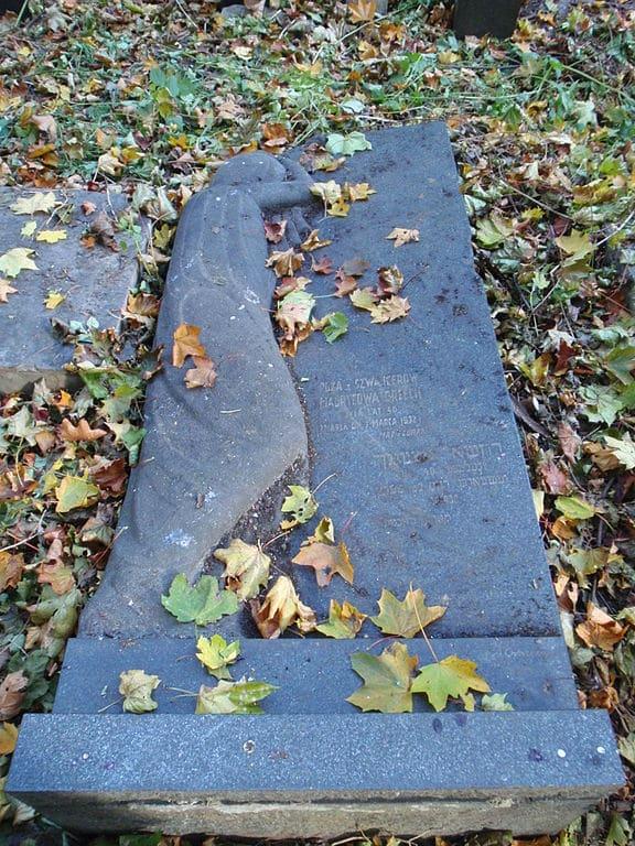 Sculpture d'Abraham Ostrzeg pour Roza Orzech dans le cimetière juif de Varsovie - Photo de Mzungu