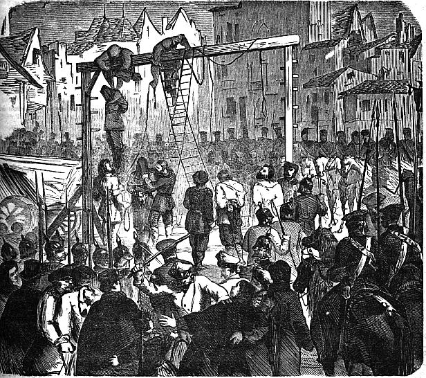 Pendaisons des insurgés de 1864 par l'occupant russe à Varsovie.