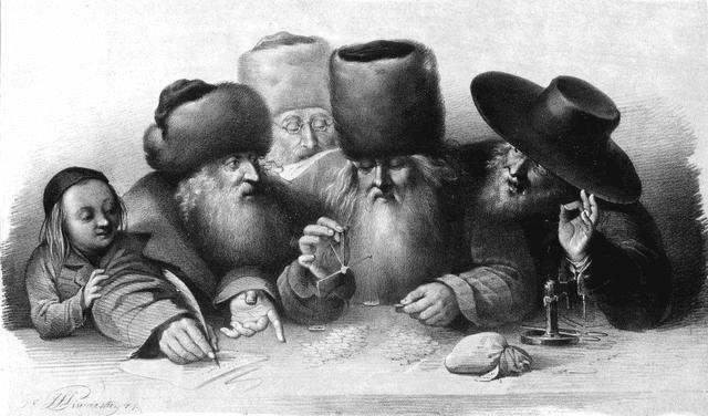 Marchands juifs de Varsovie vers 1860.