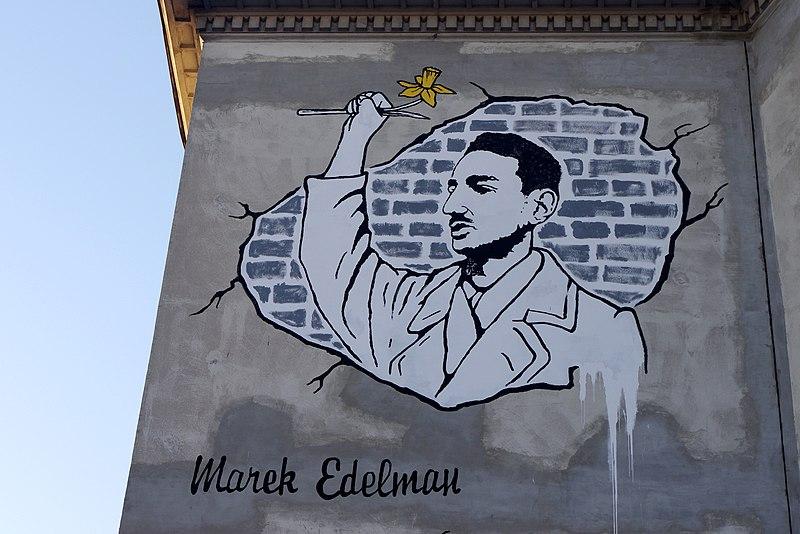 Marek Edelman, soldat de l'insurrection du ghetto de Varsovie. Street art en hommage.
