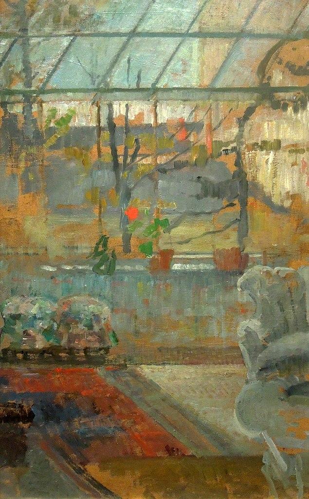 "Oeuvre d'Olga Boznańska ""Intérieur de l'atelier"" (1913) au Musée National de Varsovie."