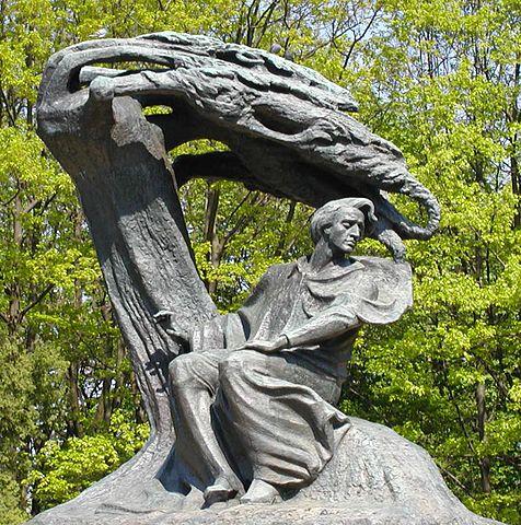 Statue de Frederic Chopin dans le parc de Lazienki à Varsovie.