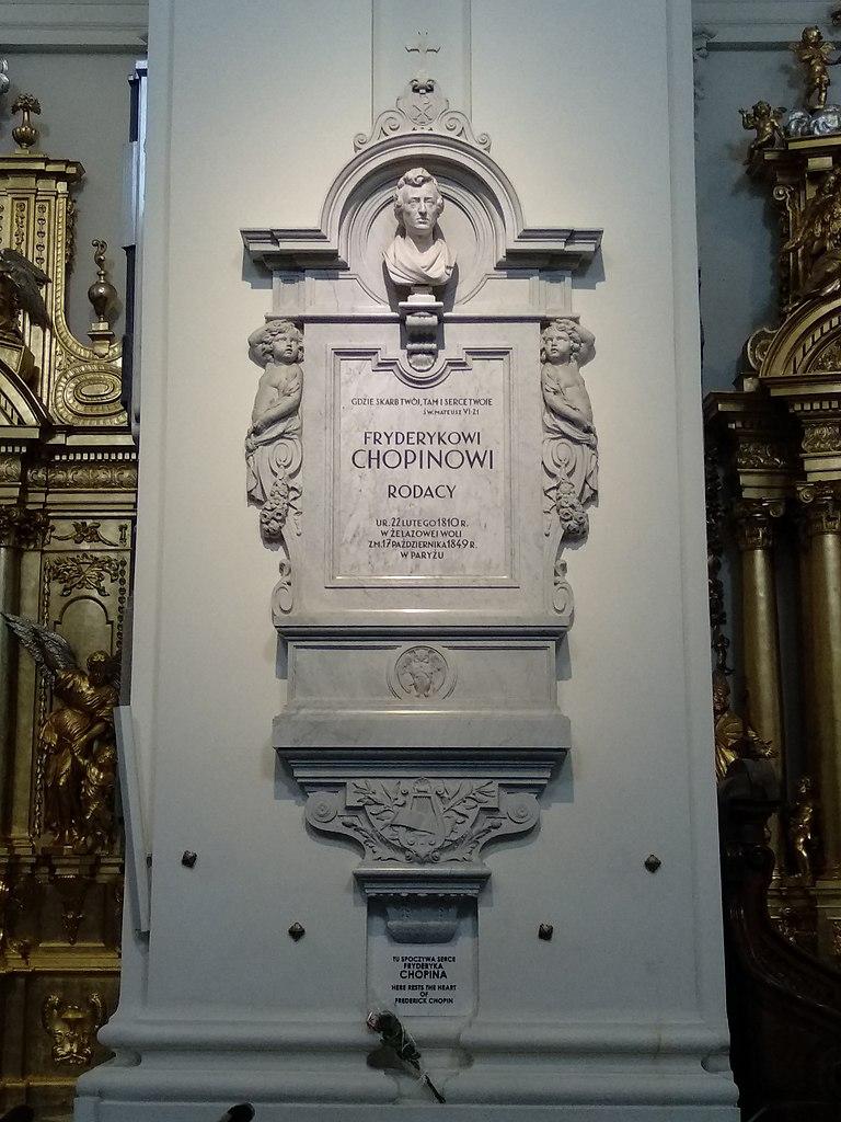 Sarcophage contenant le coeur de Chopin dans l'église Sainte Croix à Varsovie - Photo de Zala