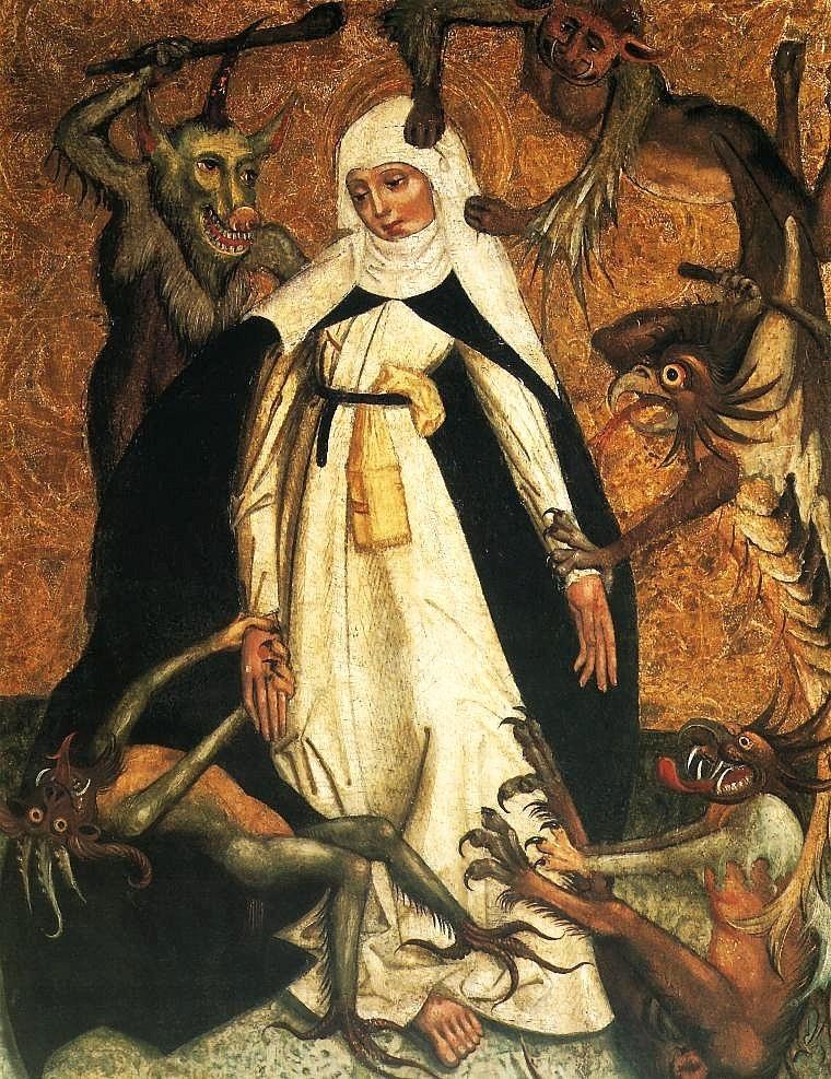 Sainte Catherine de Sienne assiégée par les démons (1500) au Musée National de Varsovie.