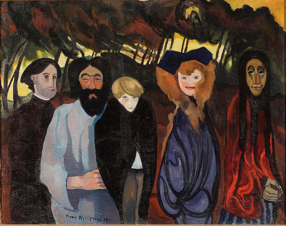 """Tableau de Stanisław Ignacy Witkiewicz """"Composition avec cinq Personnages"""" (1911) au Musée National de Varsovie."""