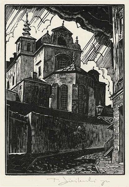 Vue de L'église Saint Anne de Varsovie en 1929 par Tadeusz Cieślewski (syn).