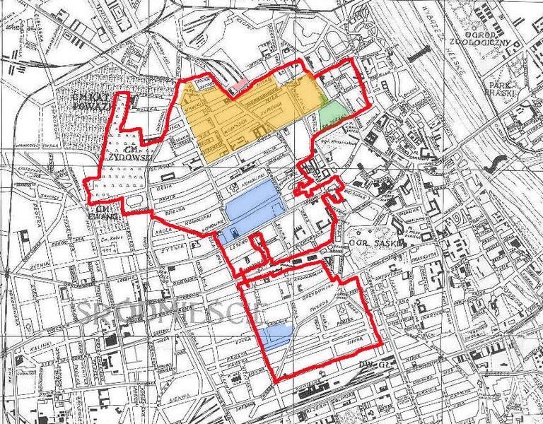 Plan du ghetto de Varsovie : A l'est le cimetière juif, au nord en rose l'embarquement pour le camp d'extermination de Treblinka.
