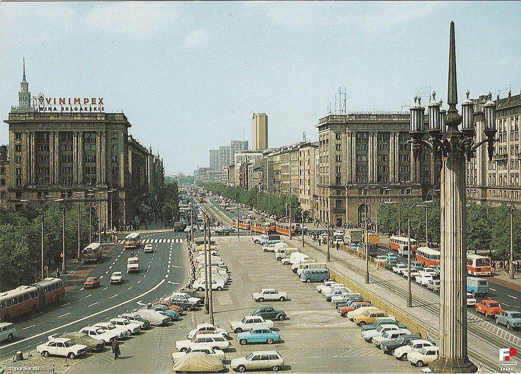 Carte postale des années 1970 du Plac Konstytucji à Varsovie.