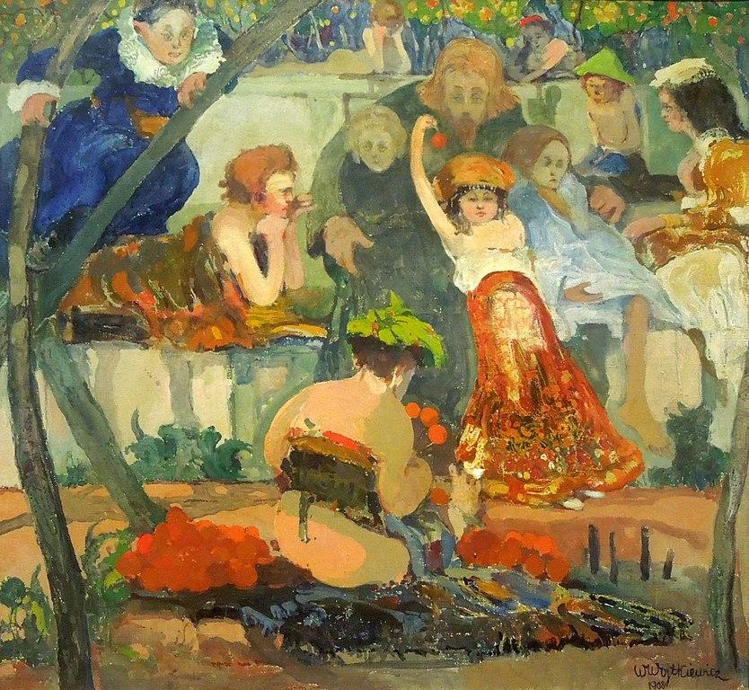 """Oeuvre de Witold Wojtkiewicz """"Jésus et les enfants"""" (1908) au Musée National de Varsovie."""