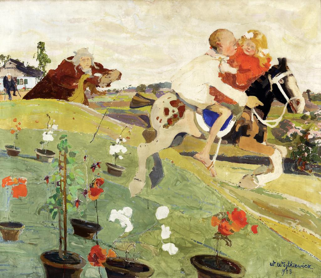 Toile de Wojtkiewicz au Musée National de Varsovie : Enlèvement de la fille du roi (1908).