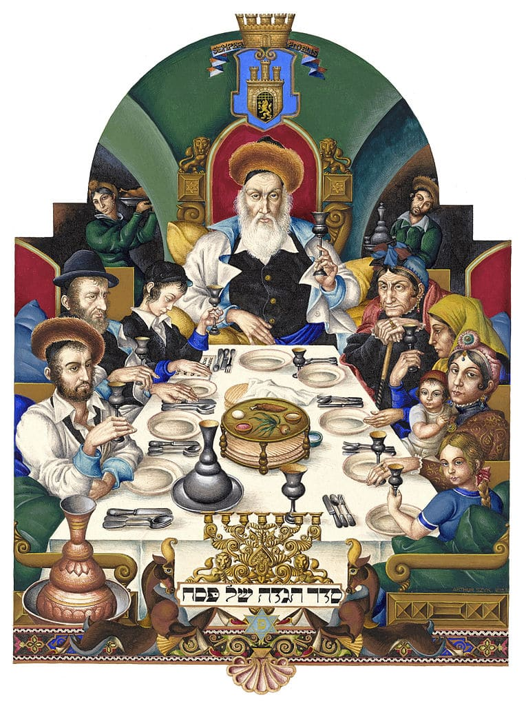 varsovie _The_Haggadah,_The_Family_at_the_Seder_(1935),_Łódź,_Poland Arthur_Szyk