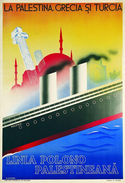 varsovie-affiche-Zygmunt_Glinicki_-_Polish-Palestinian_Line_-_Google_Art_Project
