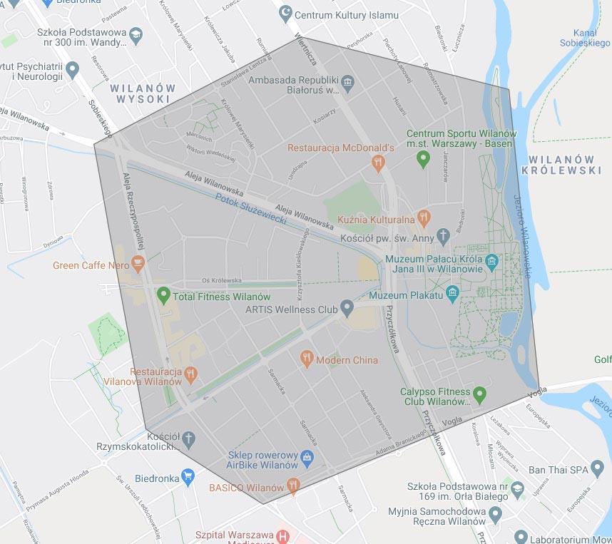Carte du quartier de Wilanow à Varsovie