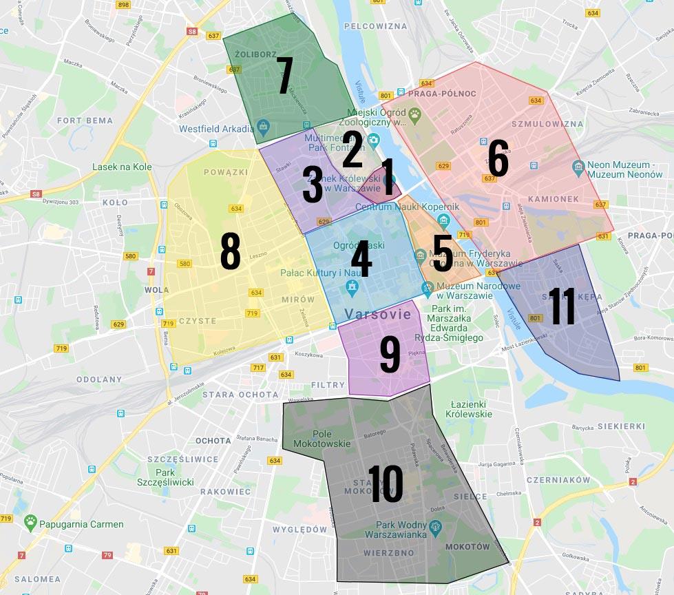 Carte des quartiers de Varsovie : 1. Vieille Ville 2. Nouvelle Ville 3. Muranow 4. Centre Nord 5. Powisle et Mariensztat 6. Praga nord et sud 7. Zoliborz 8. Wola 9. Centre Sud 10. Mokotow 11. Saska Kepa