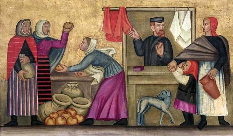 Scène de marché en Pologne par Helena Schrammówna (1924).
