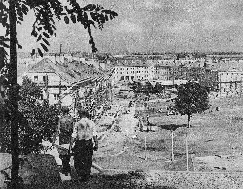 Construction du quartier de Mariensztat à Varsovie - Photo d'Antoni Nowosielski