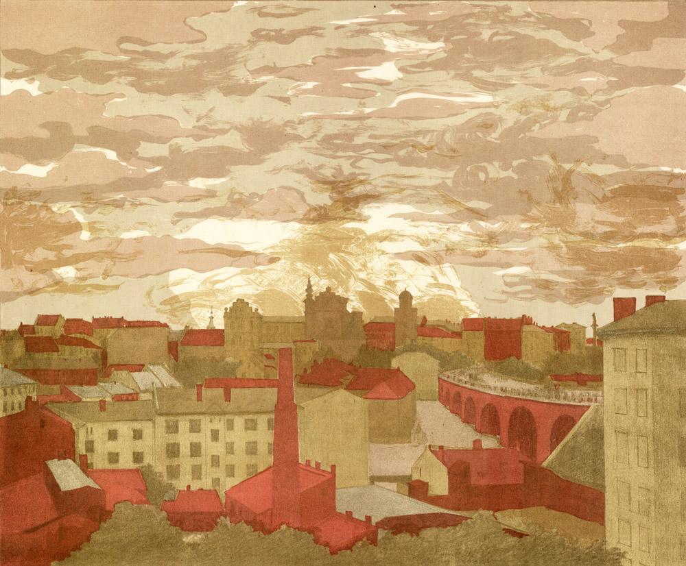 Illustration du quartier de Mariensztat à Varsovie début 1900.