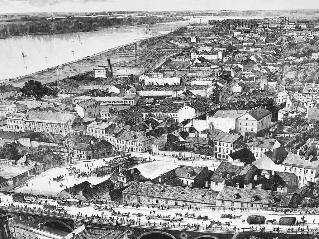Vue sur le quartier de Mariensztat et Powisle avant 1900 à Varsovie.