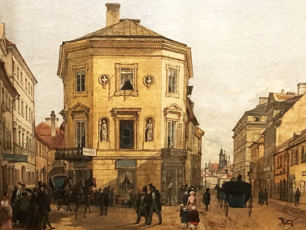 Krakowskie Przedmiescie vers 1880 à Varsovie - Musée d'histoire de Varsovie.