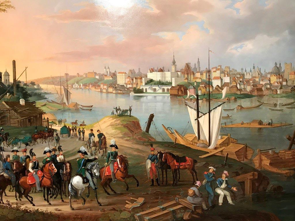 Vue sur Varsovie depuis Praga au 19e siècle. Dans le musée de Praga.