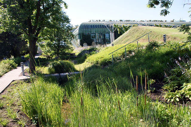 Jardin suspendu de la Bibliothèque universitaire de Varsovie dans le quartier de Powisle.