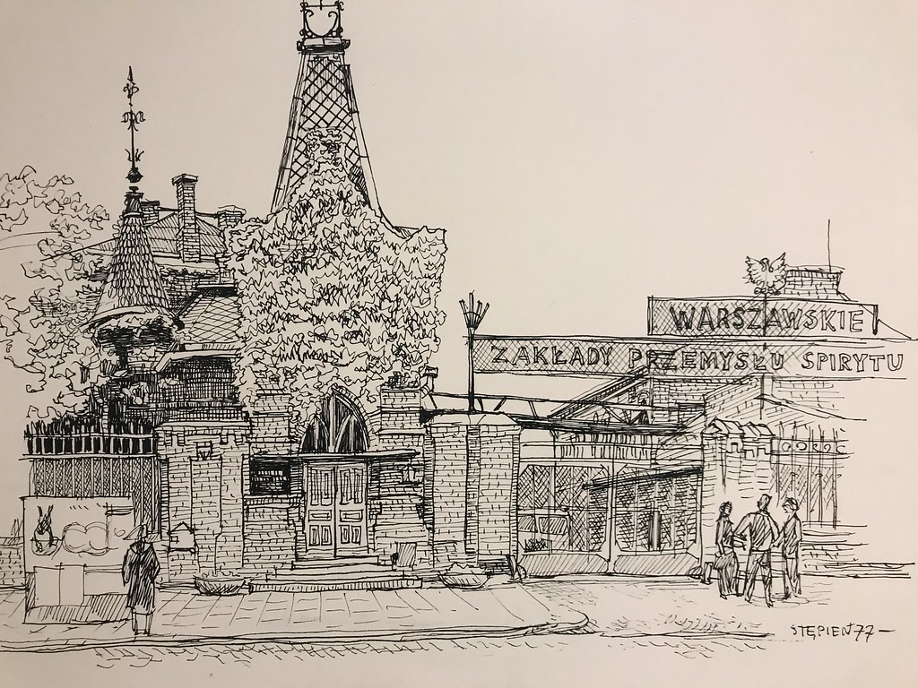 Fabrique Koneser dans le quartier de Praga à Varsovie - Illustration de Stepien