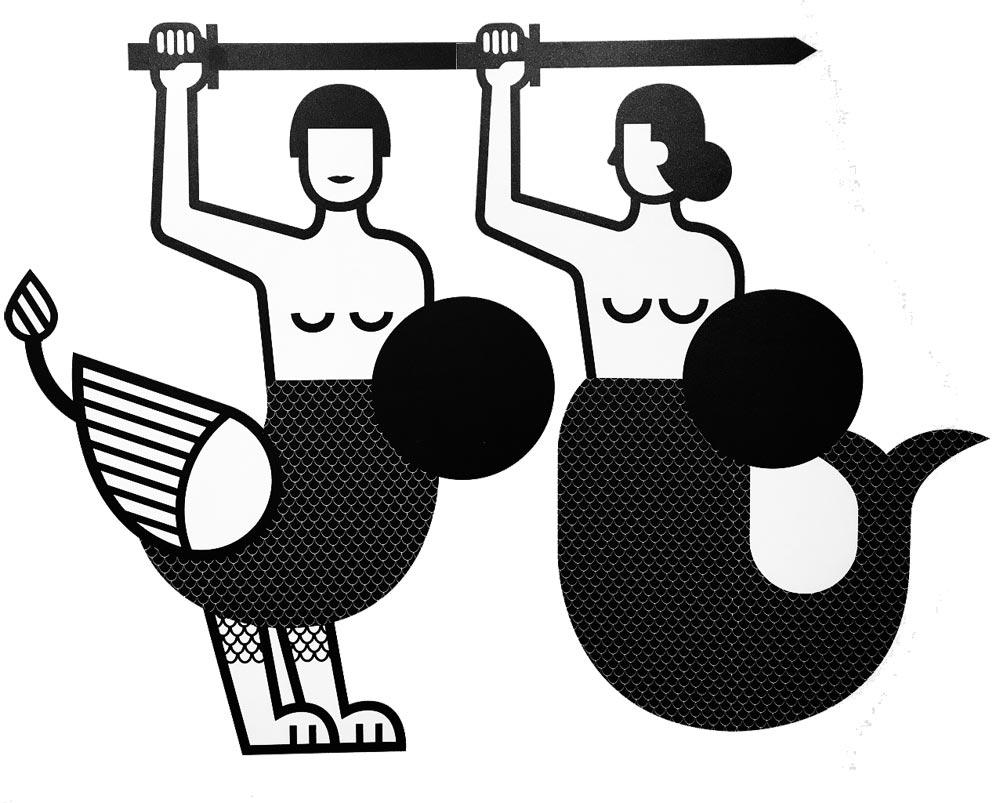 Evolution de la sirène de Varsovie dans le Musée d'histoire de Varsovie.