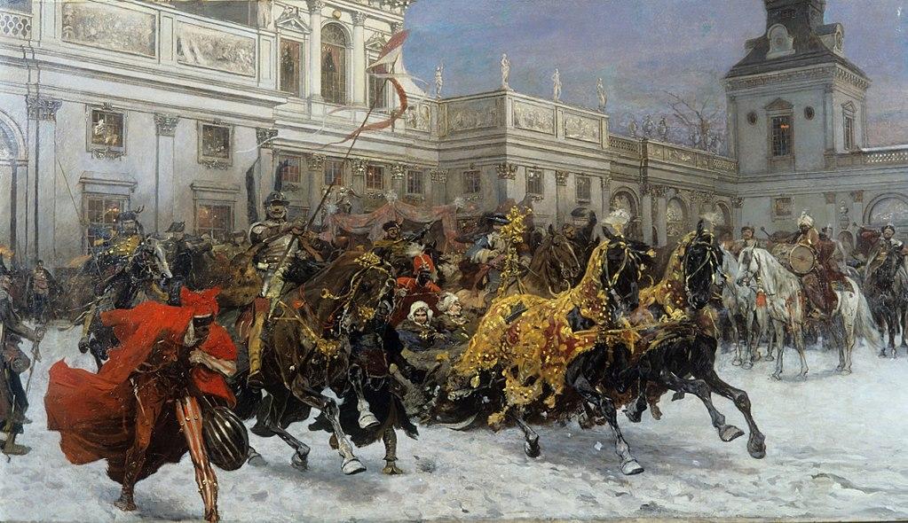 Départ de la reine Marysienka de Wilanow par Józef_Brandt (1897).