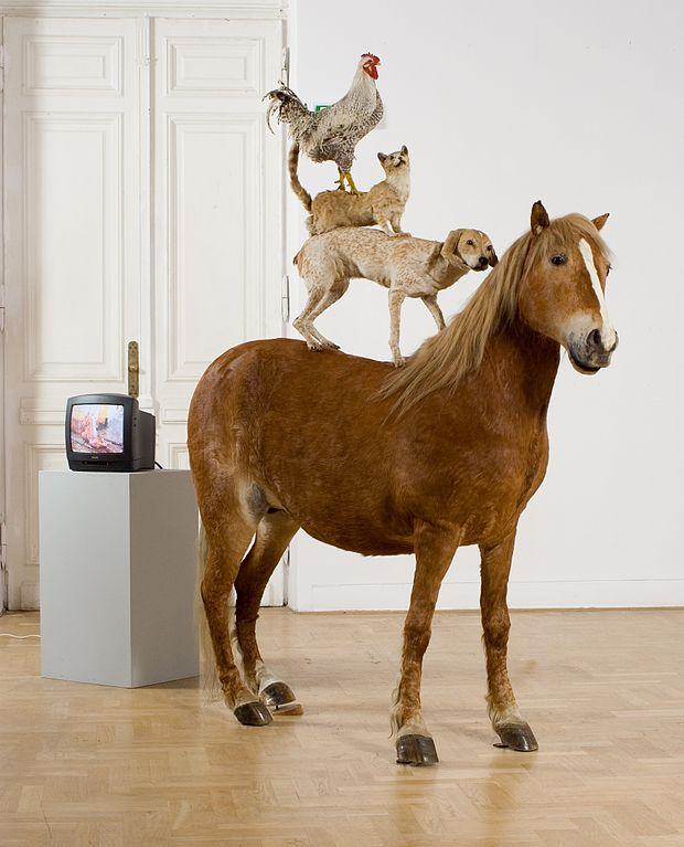 """Piramida"" de K. Kozyra au musée d'art contemporain Zacheta à Varsovie."