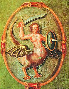 Sirène de Varsovie sur un livre de 1659 pour apprécier le dragon-canard-sirène.