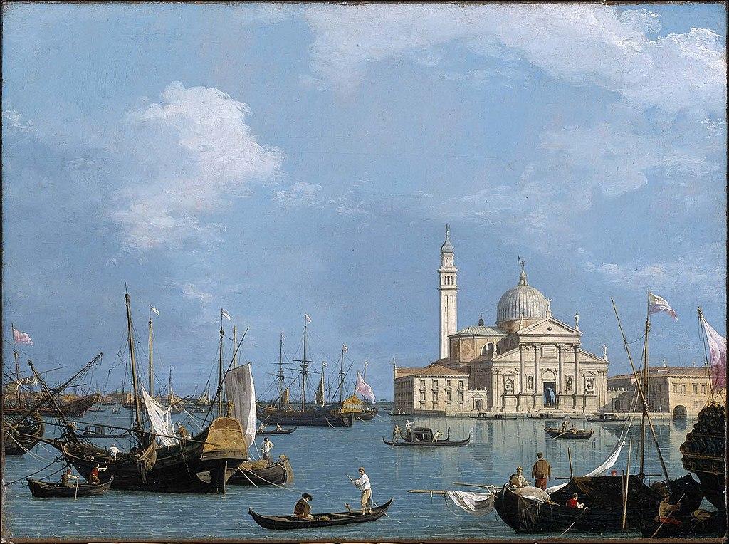 Art à Venise : Vue sur l'ile de San Giorgio Maggiore depuis Saint Marc par Canaletto.